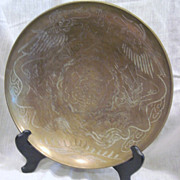 Large Round Brass Bowl with Two Dragons Chasing the Pearl of Wisdom