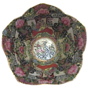 Hand Painted Oriental Bowl with Petal Shaped Rim