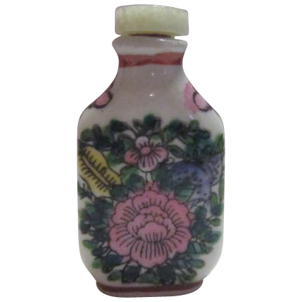 Oriental Ceramic Snuff Bottle with Jade Stopper