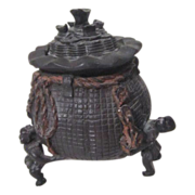 Bronze Incense Burner Money Bag Supported by 3 Men