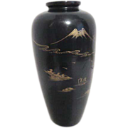 Japanese Black Lacquer Over Wood Vase with Gold Painted Scene