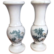 Set of Two White Marble Vases with Etched Chinese Mountain Scene