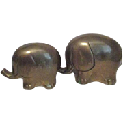 Pair of Small Brass Elephants from Korea