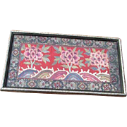Framed Asian Embroidered Flowers on Silk with Brocade Border