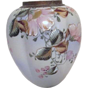 Hand Painted Japanese Vase with Gold Accented Flowers