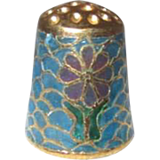 Cloisonne Plique-a-Jour Thimble with Gold Trim and Flowers