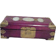 Chinese Jewelry Music Box with Jade Inlay Bronze Trimmings