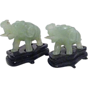 Pair of Miniature Carved Jade Elephants on Wood Stands