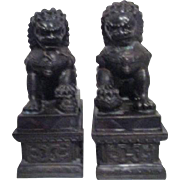 Pair of Bronze Foo Dogs on Pedestals