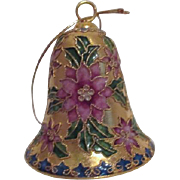 Champleve Cloisonne Christmas Ornament Bell with Poinsettia