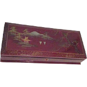 Japanese Red Lacquer Jewelry/Treasure Box with Key