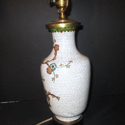 Cloison Stand Of Cloisonne Electric Lamp On Wood Stand From