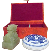 Chinese Dragon Chop with Ceramic Ink Pot in Original Brocade Covered Box