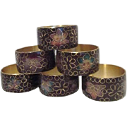 Set of 6 Cloisonne Napkin Rings