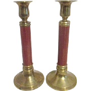 Pair of Brass with Faux Cloisonne Columns Candle Holders