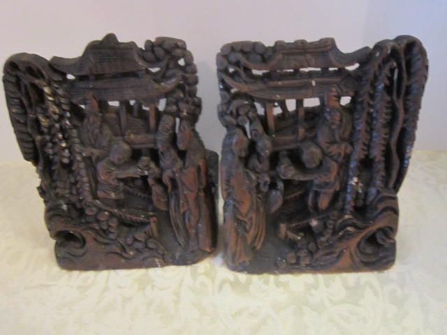 Antique Wood Chinese Bookends
