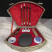 Vintage Boxed Chinese Calligraphy Set with Carved Soapstone Chop