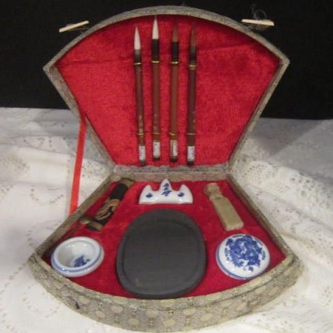 Vintage Boxed Chinese Calligraphy Set With Carved