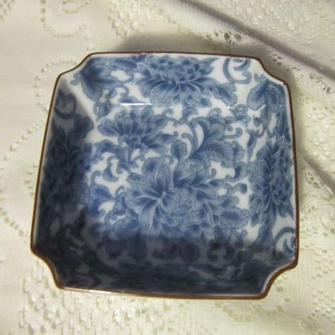 Vintage Blue & White Handpainted Small Serving Bowl