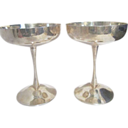 Pair of Silverplate F. B. Rogers Champagne Goblets from Yugoslavia