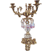Ornate Crystal and Metal Candle Holder