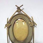 Vintage Metal and Velvet Oval Frame