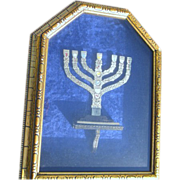 Framed Wall Hanging of Menorah with Seven Branches