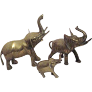 Three Small Brass Elephants