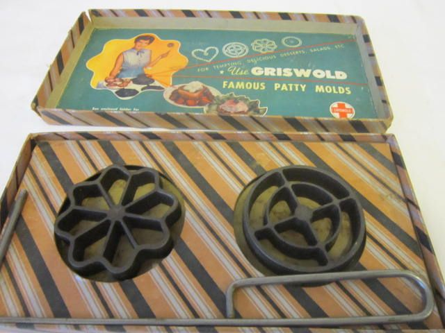 Vintage Griswold Patty Mold Set