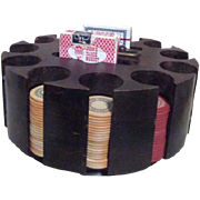 12 Column Lazy Susan Wood Poker Chip Holder with 246 Clay (Composite) Chips & 2 Decks of Cards