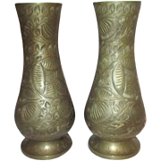 Pair of Intricately Etched Brass Metal Vases from India