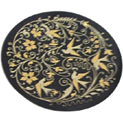 Shallow Footed Metal Bowl Intricately Decorated with Birds and Flowers