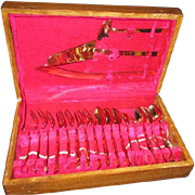 19 Piece Anant Gold Tone Dessert Set Utensils in Wood Case