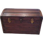 Wood Child's Trunk with Tray and Leather Handles