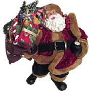 Standing Santa with Toy Bag Fur Lined Suit