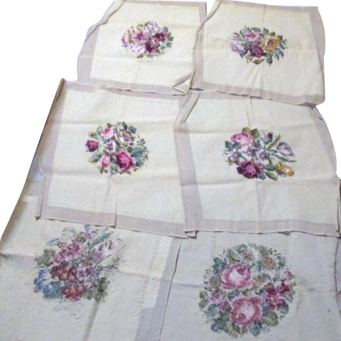 Set Of 6 Handmade Needlepoint Chair Seat Covers 6