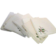 Set of 12 Linen Christmas Holly Napkins Machine Embroidered
