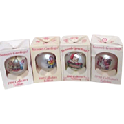 Set of 4 Campbell Soup Kids Christmas Ornaments 1986 1987 1989 1990