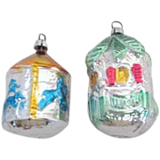 Pair of West German Glass Christmas Tree Ornaments