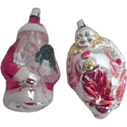 2 West German Glass Christmas Ornaments