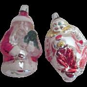 2 West German Glass Christmas Ornaments