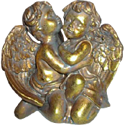 Two Gold Painted Chalk Angels Sculpture