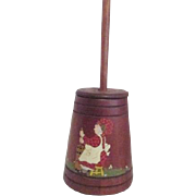 Wood Decorator Butter Churn with Country Scenes