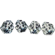 Set of 4 Clear Glass Pull Knobs for Dressers or Cupboards