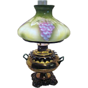 Antique Brass Oil Lamp Converted to Electric Grape Clusters on Glass