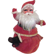 Vintage Felt Christmas Santa Seated on Bag Bank