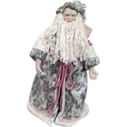 Standing Christmas Santa in Pink Trimmed Floral Robes