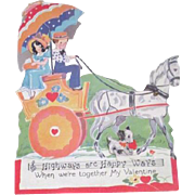 Mechanical Vintage Valentine Young Couple in Horse Wagon
