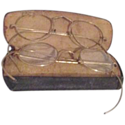 Two Pair Old Goldtone Wire Frame Glasses with One Case