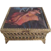 Small Gold Tone Filigree Footed Box with Satin Top Degas Ballerina